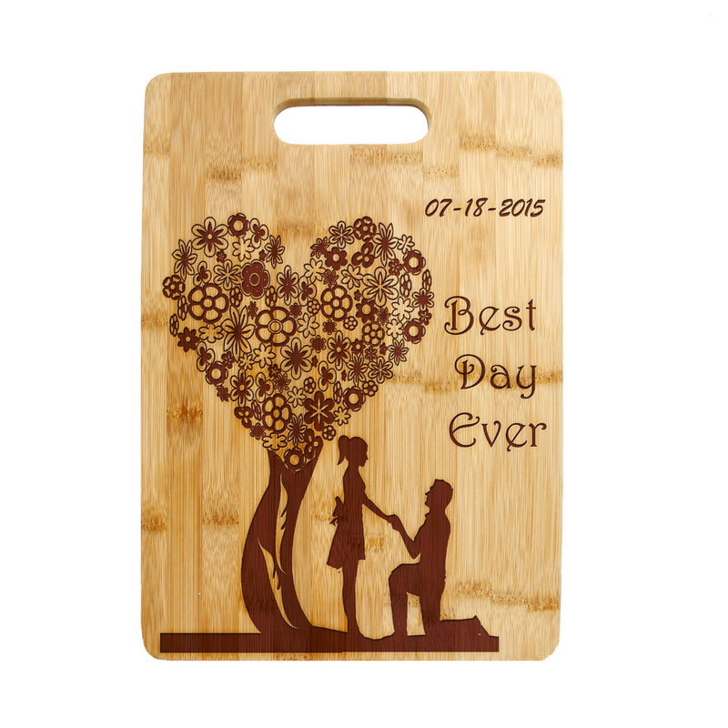 Floral Heart shaped Tree Lovers, Sweethearts Laser engraved on Bamboo Cutting Board, Wedding Present, Anniversary Gift, Housewarming Gift - CTB-118