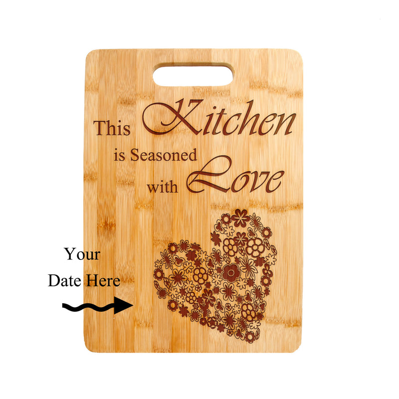 Kitchen Love Quote Laser engraved on Bamboo Cutting Board