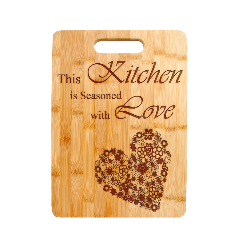 Kitchen Love Quote Laser engraved on Bamboo Cutting Board, Wedding Present, Anniversary Gift, Housewarming Gift - CTB-121