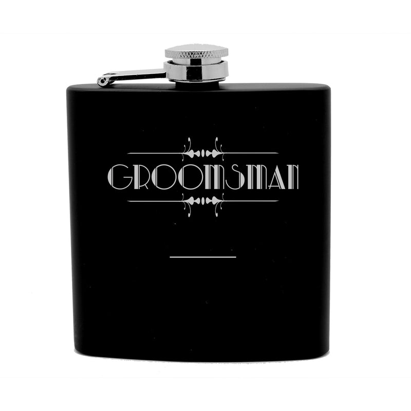 Personalized Flask 6oz Black Stainless Steel Laser Engrave Groomsman