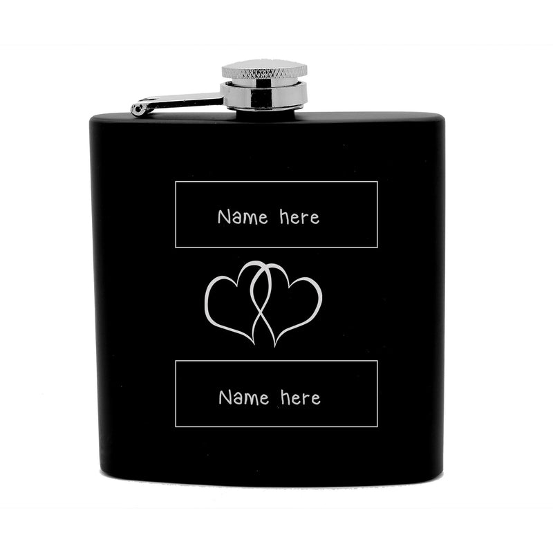 Personalized Flask 6 oz Black Stainless Steel Laser Engraved Couple Sweethearts First Names