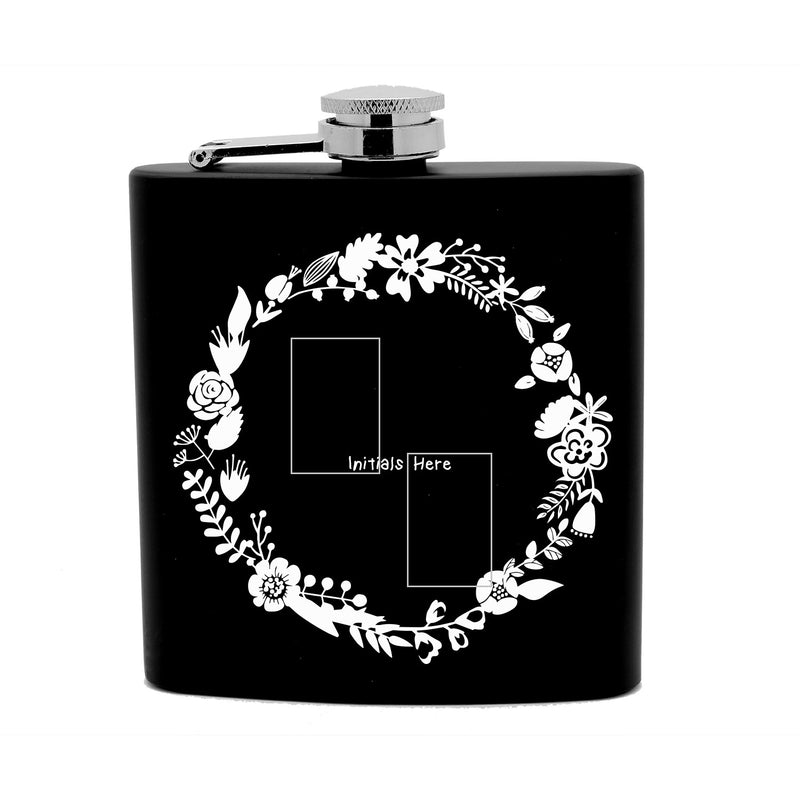 Personalized Flask 6 oz Black Stainless Steel Laser Engraved Initials round Floral Flower Border