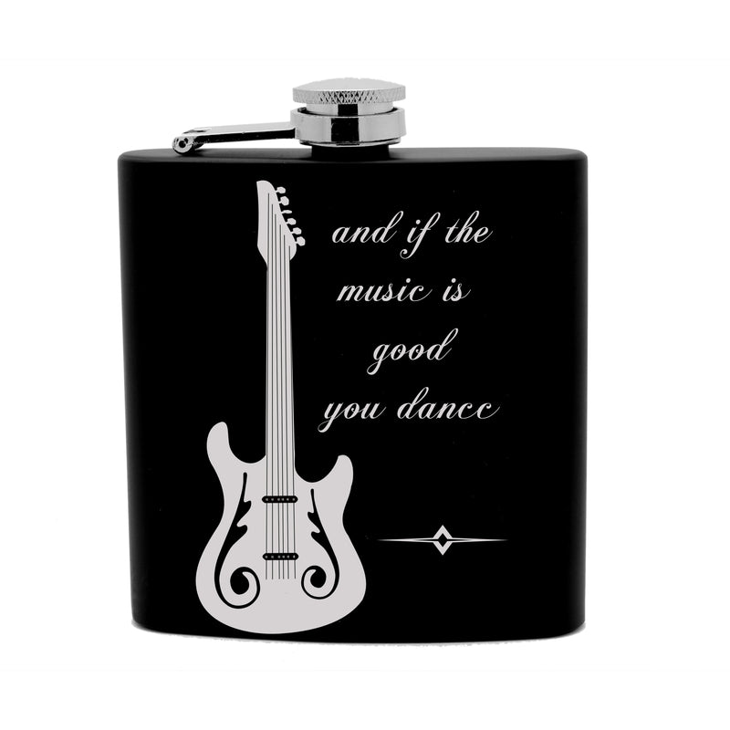 Personalized Flask 6oz Black Stainless Steel Laser Engrave lets party