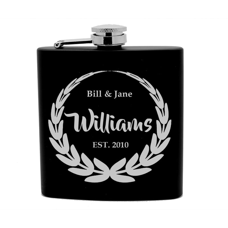 Personalized Flask 6 oz Black Stainless Steel Laser Engraved Couple Wedding Anniversary Date