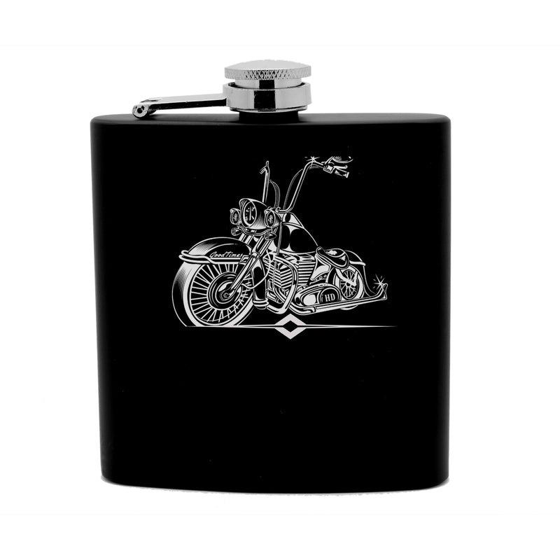 Personalized Flask 6oz Black Stainless Steel Laser Engraved BIKER Granddad