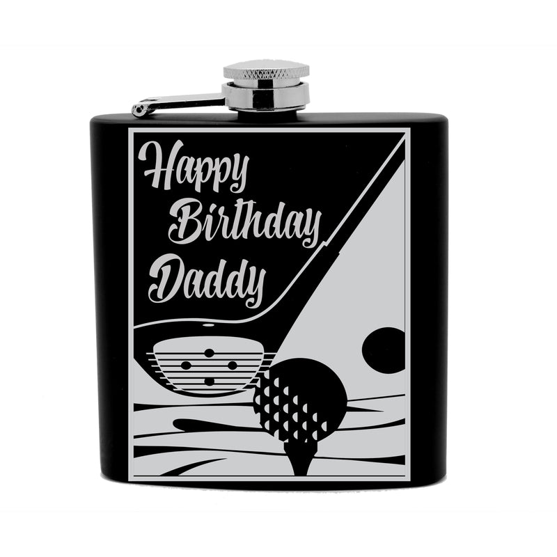 Personalized Flask 6oz Black Stainless Steel Laser Engraved Happy Birthday Daddy