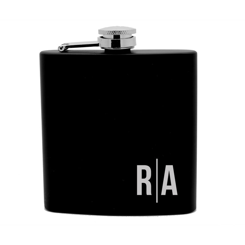 Personalized Flask 6oz Black Stainless Steel Laser Engraved Monogram Initials Bachelor Gift