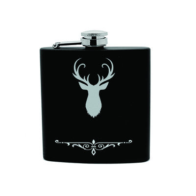 Personalized Flask 6oz Black Stainless Steel Laser Engrave Groomsmen