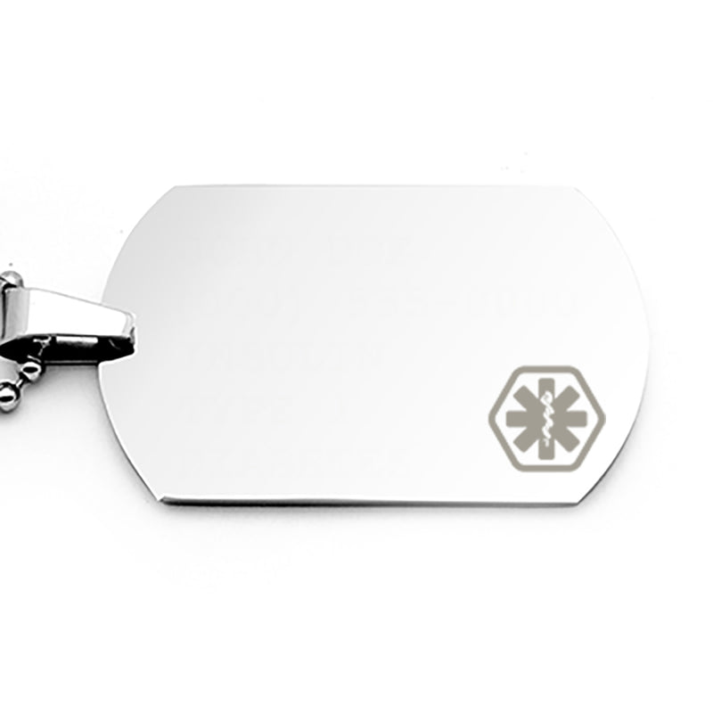 Diabetes Medical ID-Medical Alert Tag-Medical Alert stainless steel Necklace-Jewelry