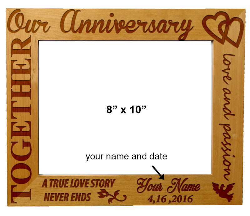 "Personalized Laser Engraved Wooden Picture Frame 8"" x 10"" Anniversary Wedding Special Occasion"