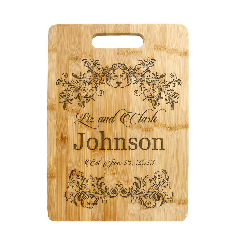 Personalized Laser Engraved Cutting Board,  Floral design,