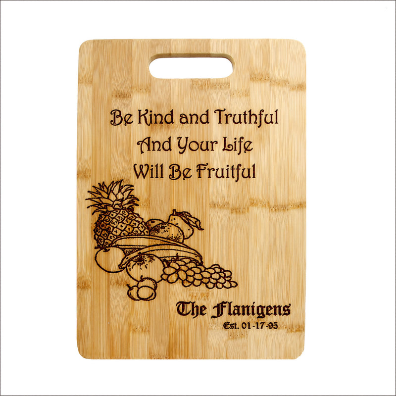 Personalized Laser Engraved Cutting Board,  Life Quote