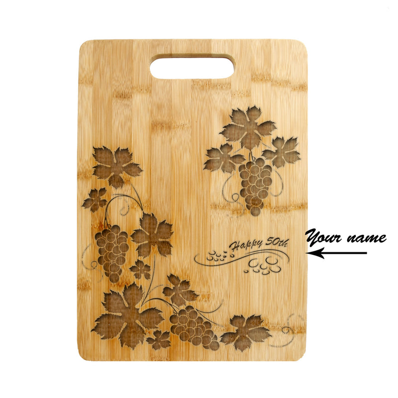 Personalized Laser Engraved Cutting Board, Wedding Present, Anniversary Gift, Housewarming Gift, Customized Cutting Board Grapes CTB-103