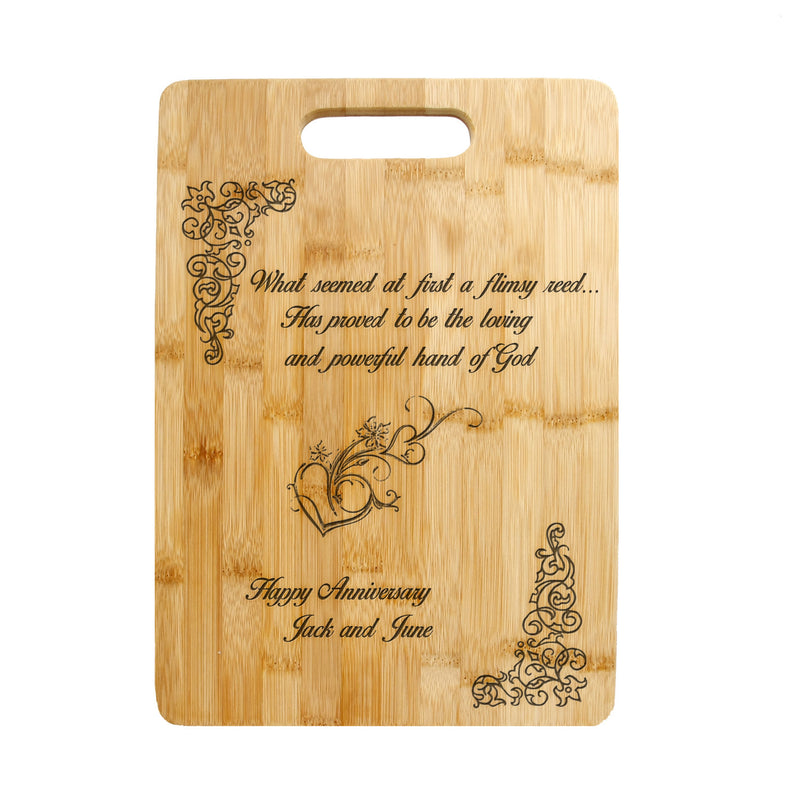 Personalized Laser Engraved Cutting Board,  Floral Filligree Heart design,