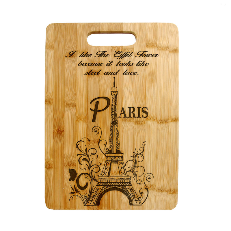 Personalized Laser Engraved Cutting Board Floral Filigree , Eiffel tower Design