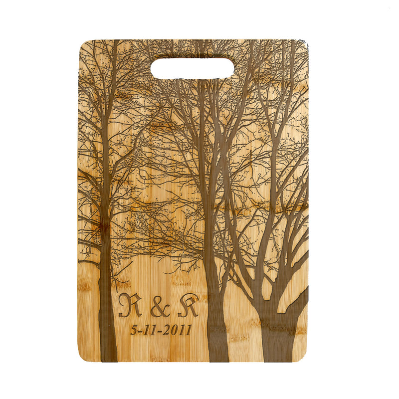 Personalized Laser Engraved Cutting Board, Wedding, Anniversary Gift, Housewarming Frosty Winter Trees CTB-112
