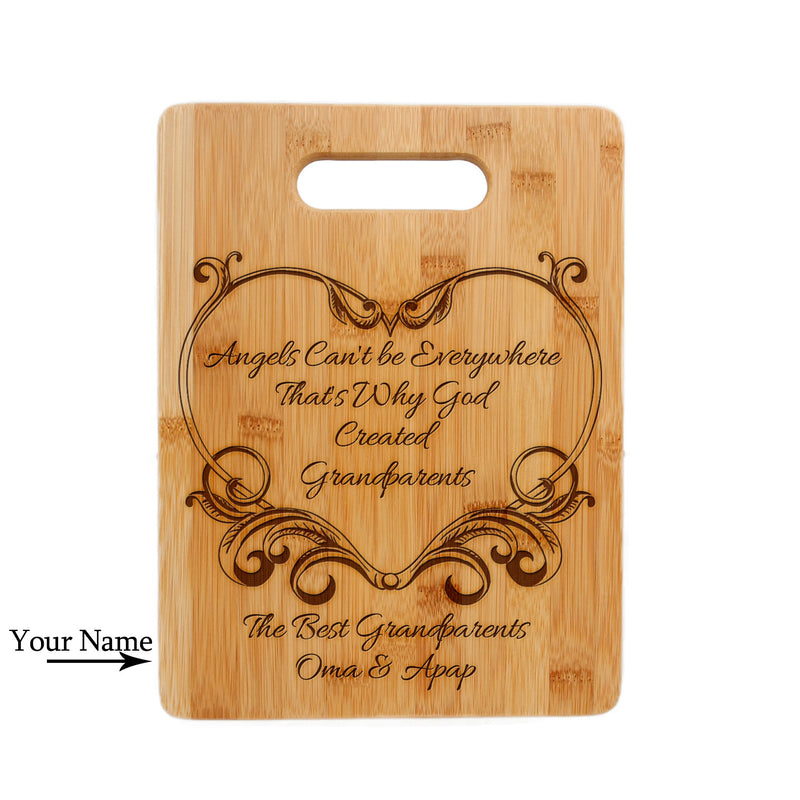 Personalized Laser Engraved Bamboo Cutting Board, Wedding Present, Anniversary Gift, Housewarming Gift, Grandparent Love Design CTB-113