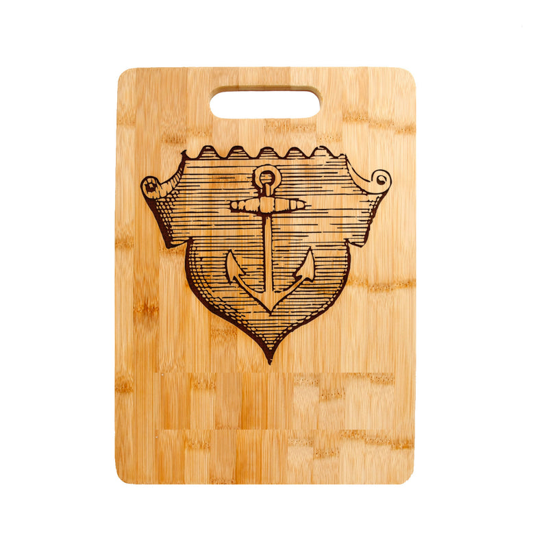 Ship's Anchor Crest Emblem Laser engraved on Bamboo Cutting Board,
