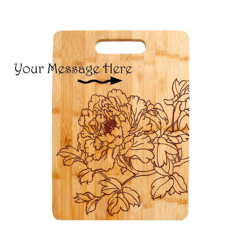 Floral Flower Laser engraved on Bamboo Cutting Board,