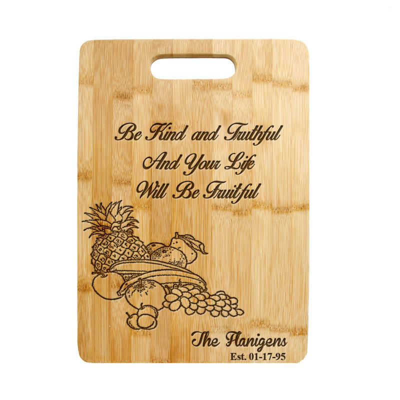 Personalized / Custom Engraved Bamboo Wood Cutting Board Fruitful Design