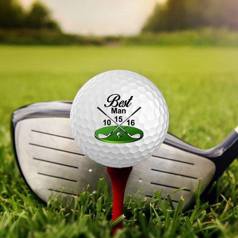 Set of 3 Custom UV Printed Golf Ball - Bestman,