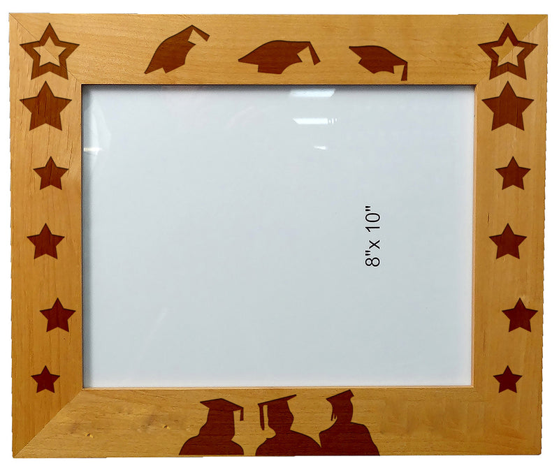 "Personalized Laser Engraved Wooden Picture Frame 8"" x 10"" Graduation School University"