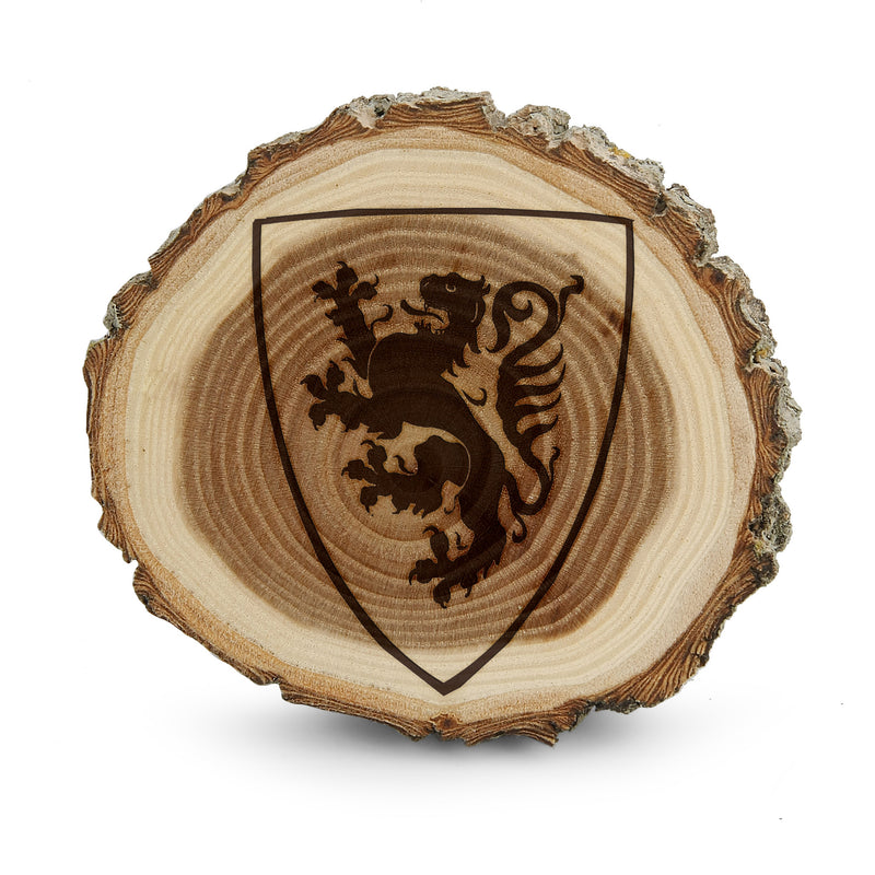 Knight Dragon Crest Emblem Shield Tree Bark Coasters, Wedding gift, Custom Tree Bark Coasters, Round Wood Coaster Set, Engraved Coasters Set, customize coasters