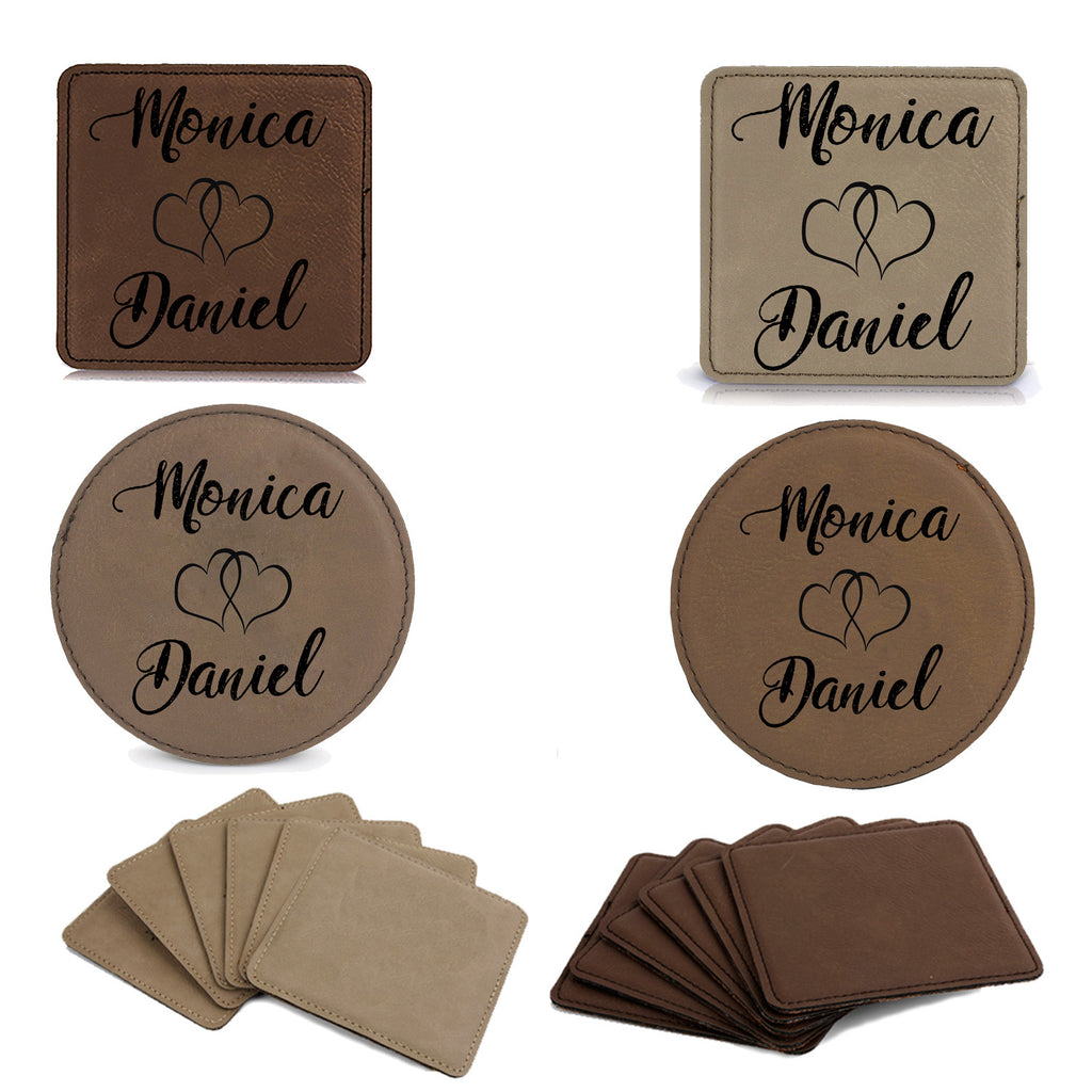 Set of 6 Leatherette Coaster Set - Sweethearts, Lovers, Customized Coasters, Engraved Coasters, Personalized Engraved Gift, Wedding Gift, Couples Gift idea