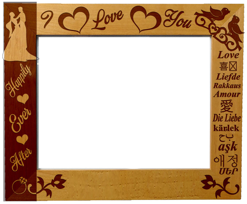 "Personalized Laser Engraved Wooden Picture Frame 8"" x 10"" Engagement Anniversary love Wedding Memory love"