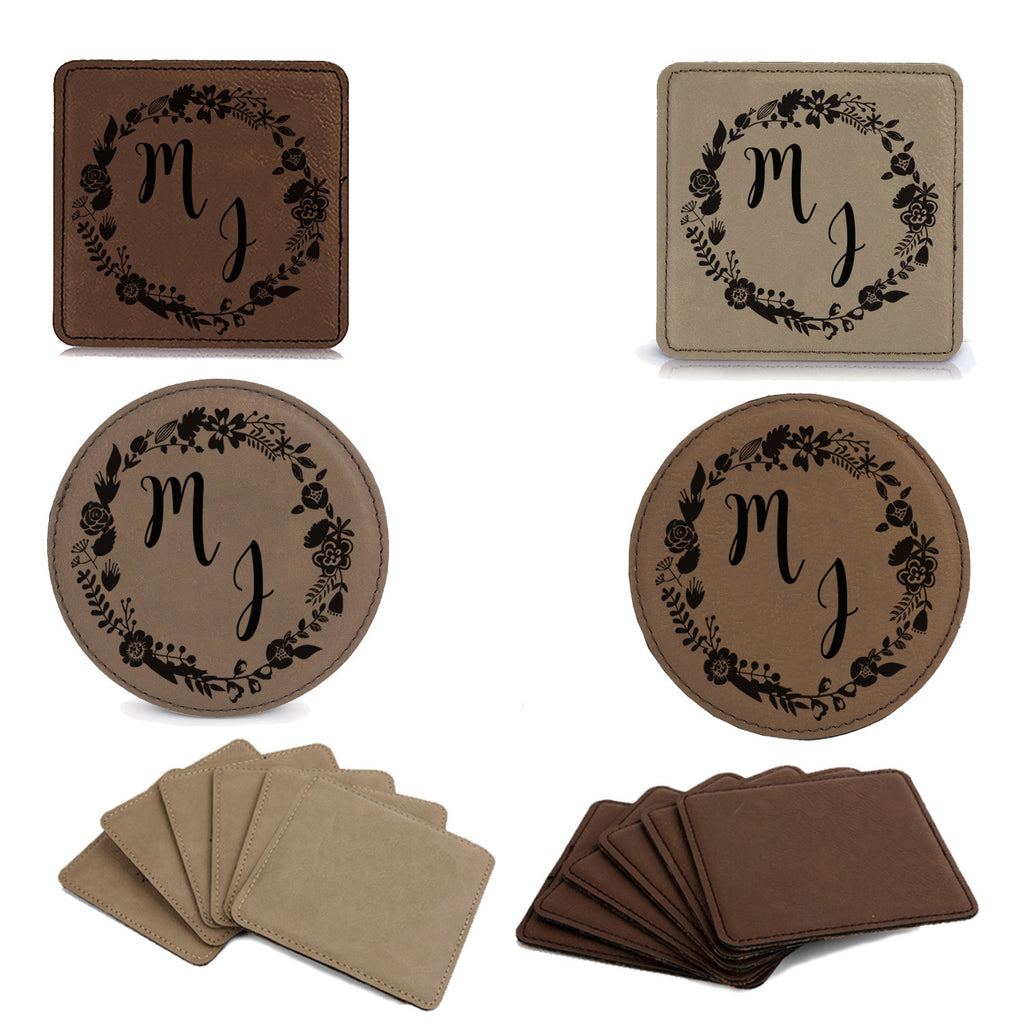 Set of 6 Leatherette Coaster Set - Initials Floral Flower Customized Coasters, Engraved Coasters, Personalized Engraved Gift, Wedding Gift, Couples Gift idea