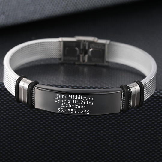 Laser engraved Medical ID Health Alert Stainless steel and silicone band Bracelet for Men