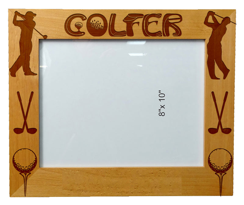 Personalized Laser Engraved Wooden Picture Frame 8X10  Golfer Quotes