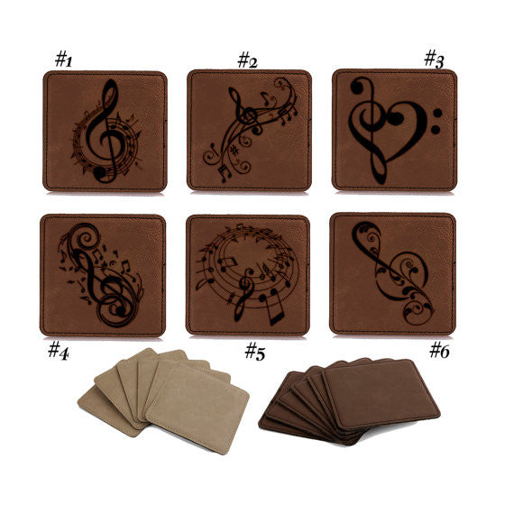 Personalized Engraved Square Leather Coaster set of 6, Music Notes, Musical theme, Wedding ,Housewarming,Anniversary Gift, Coaster set 1011