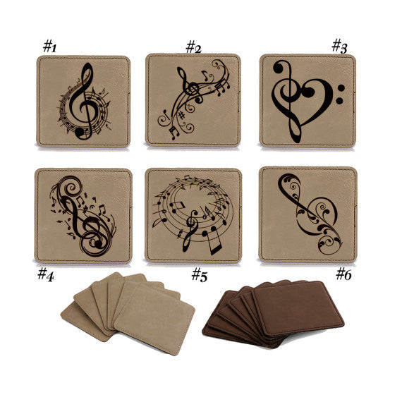 Personalized Engraved Square Leather Coaster set of 6, Music Notes, Musical theme, Wedding Set 1011 ,Housewarming,Anniversary Gift, Coaster