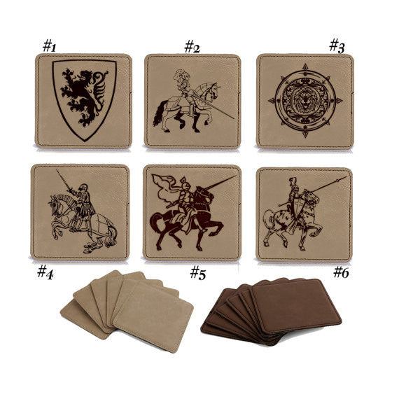 Medieval Times Engraved Coasters, Custom Leather Coaster Set, Square Leather Coaster Set, Knights and Shields Set- Personalize custom 1000