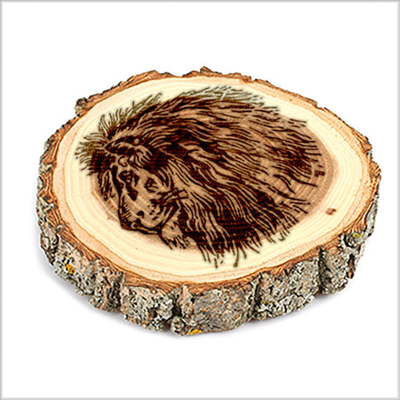 Lion Head Tree Bark Coasters,