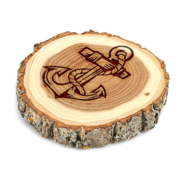 Anchor and Rope Design Tree Bark Coasters, 1002