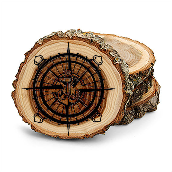 Compass Anchor Wheel Design Tree Bark Coasters,