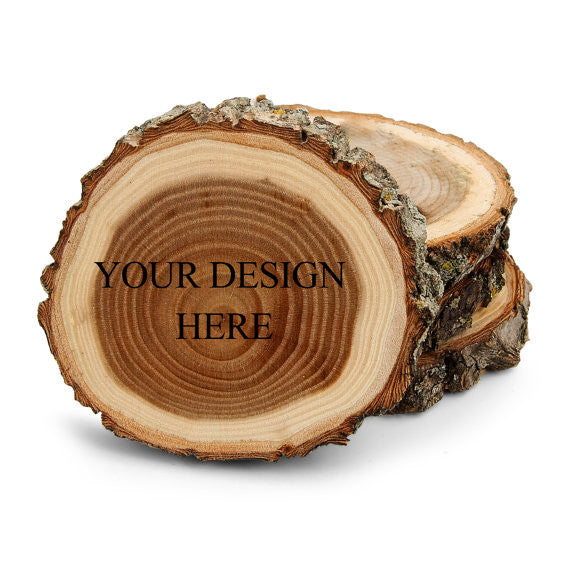 Create your own personalized laser engraved design Tree Bark Coaster