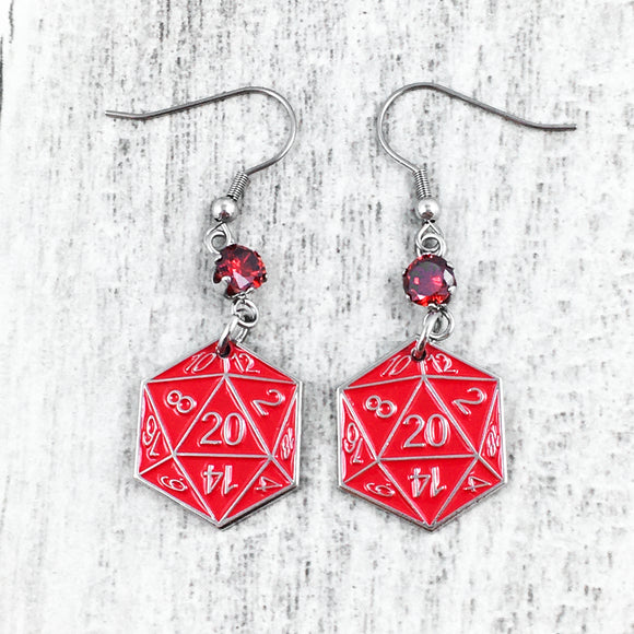 Earrings | Red D20