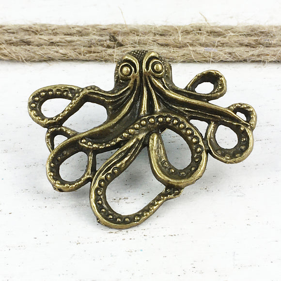 Metal Pin | Bronze Octopus