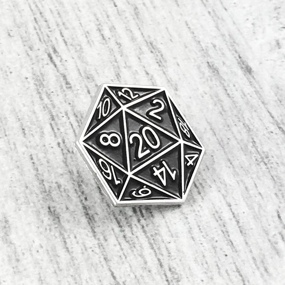 Enamel Pin | D20 (black)