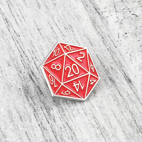 Enamel Pin | D20 (red)