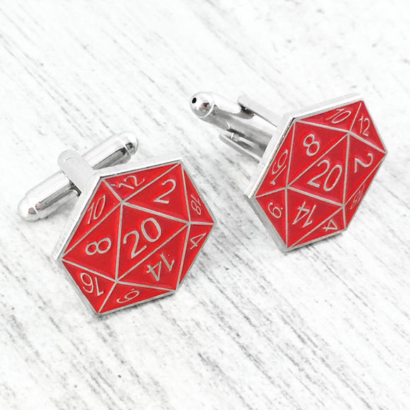Cuff Links | D20 | Red