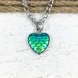 Necklace | Green Mermaid Scales Heart
