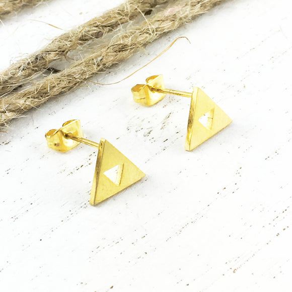 Stud Earrings | Golden Triangles