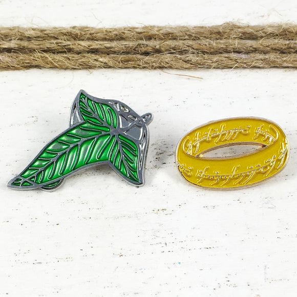 Enamel Pin Set | Lord of the Rings | Ring and Lothlorien Leaf