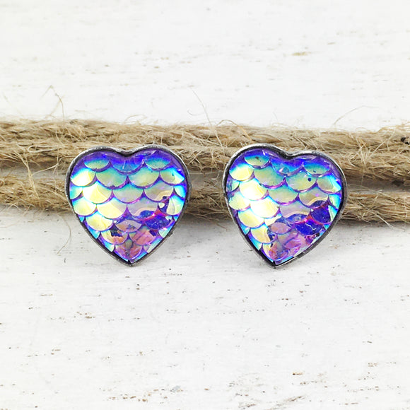 Stud Earrings | Mermaid Scales (purple)