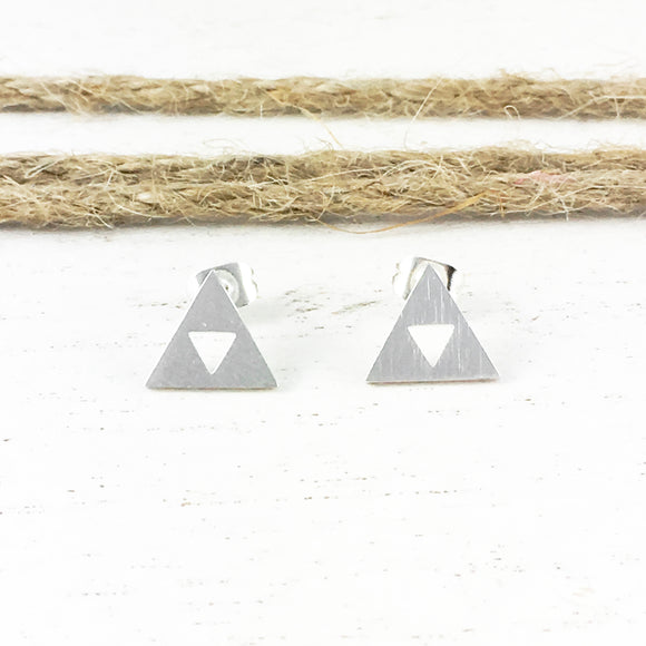 Stud Earrings | Silver Triangles
