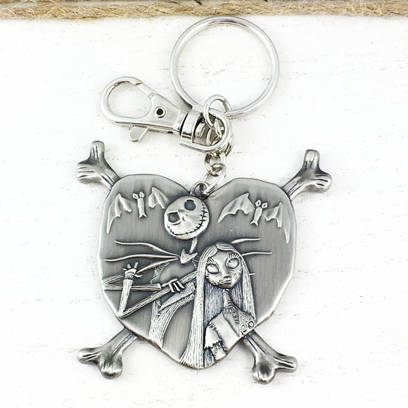 Pewter Keychain | Nightmare Before Christmas | Jack and Sally